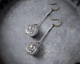 RARE Vintage Czech Glass Button Earrings 1920s 1930s Silver Wave Beach Jewelry Mermaid Wedding Silver Minimalist Gray Swirl Spiral Wave