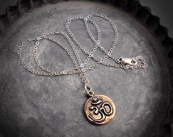 Om Amulet Buddhist Buddha Necklace Minimalist Pendant Sterling Silver or Solid Bronze Ohm Yoga Pendant Necklace Simple Gold Charm Pendant