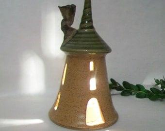 Tower, Fairy House - Night Light - Handmade, Wheel Thrown