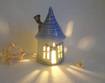 Garden Fairy House/ Night Light - with a Purple  Roof - a Chimney - Hand Made on Pottery Wheel - Hand Painted Vine - Ready to Ship