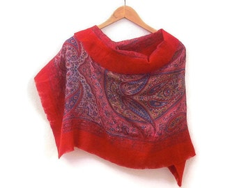 nuno felted silk shawl, red paisley