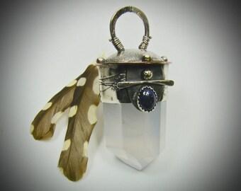 Quartz Crystal and Lapis Lazuli Pendant