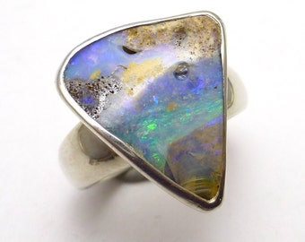 Boulder Opal Ring Size 9 Sterling Silver Australian Australia One of a Kind Handmade Lisajoy Sachs Design October Birthstone Birthday