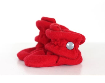 Baby Shoes - Baby Booties - Toddler Shoes - Crib Shoes - Soft Sole - Baby Girl Booties - Baby Boy Booties- Red