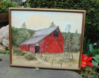 "Oregon Artist Denise Holzman (American, 1947-2010) Beautiful Original ""Old Red Barn"" 1975 Oil Painting on Board ~ Cabin, Rustic, Primitive"