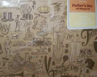"New in Seal Packaging ~ Hallmark Father's Day Gift Wrapping Paper ~ NOS Victorian Style Father's Day Gift Wrap ~  2 sheets 30"" * 20"" each"