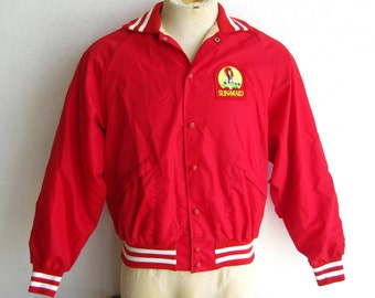 Vintage 70s Mens Red Nylon Sun Maid Raisins Baseball Jacket King Louie size L