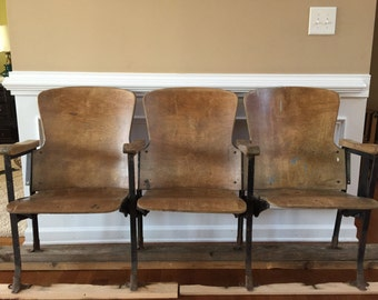 Theater Chairs. Movie Seats. Entryway Furniture. Wood Iron Wooden Folding Cinema Seats Industrial Furniture Decor Rustic Modern Bench Retro