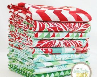"Jingle - Fat Quarter Bundle - 9 - 18""x21"" Cuts - Kate Spain - Moda Quilt Fabric"