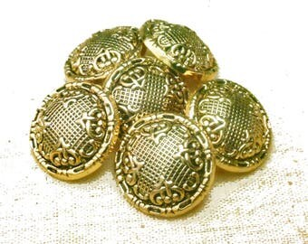 Victorian Style Antiqued Gold Shank Buttons - Metalized Plastic Buttons - Craft Jewelry Supplies - 6 buttons - B90