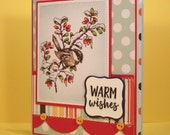 Winter Chickdee Card - Handmade Greeting Card featuring Hand Colored Image of a Chickadee in Barberry - Special Card for Warm Wishes Friend