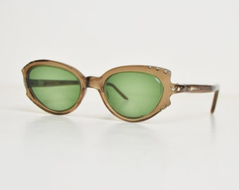 Vintage 50s Cateye Semi Round Eyeglass Frames / 1950s Brown AB Rhinestone Eyeglasses