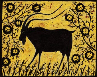 Goat with Flowers 10 x 8 in Abstract Print from my Original painting