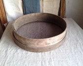 Vintage Clam Basket, Round Wooden Oyster basket, Antique Rustic Kitchen, Vintage French Garden/ Rustic Home Decor