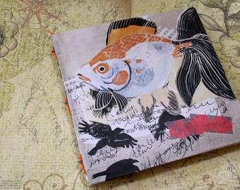 Handbound Art Journal Mixed Media Sketchbook - Golden Fish