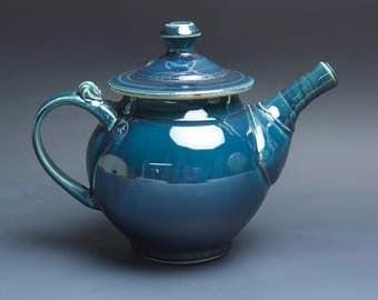 Handmade pottery teapot stoneware tea pot 32 ounce glossy blue 3908