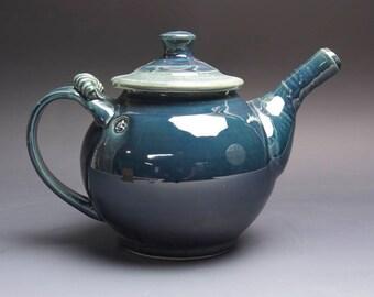 Sale - Handmade pottery teapot stoneware tea pot 44 ounce glossy deep blue 4008