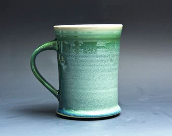 Pottery coffee mug, ceramic mug, stoneware tea cup jade green 14 oz 4023