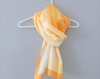 Vintage Orange Silk Scarf / Fabulous Yellow and Orange Angels Long Length Head Scarf