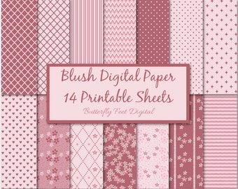 Pink Digital Paper, Dusty Rose, Pink Blush, Flowers, Stripes, Polka Dots, 14 Printable Designs, Instant Download