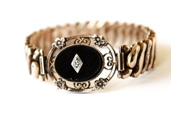 Vintage Expansion Bracelet / Sterling Over Gold with Black Glass and Diamond Chip C.1940s