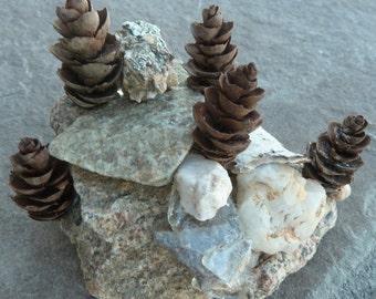 Garden Rock Art, Miniature Sculptures, Zen Rock Sculpture, Mother Nature Creation, Zen Decor, Rock Garden