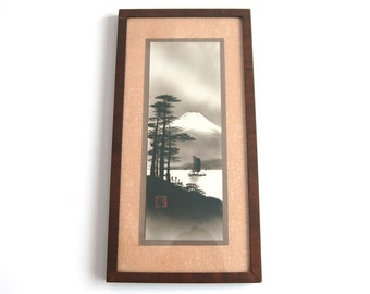 Vintage Japanese Hand Painted Print of Mt Fuji With Woodland Lake Scene