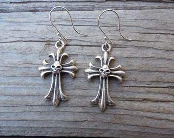 Cross earrings handmade in sterling silver