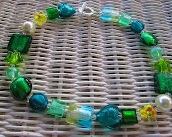 502  Green glass beaded handmade necklace