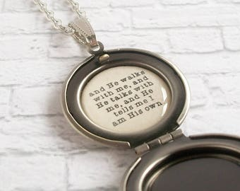 In the Garden Hymn Quote Locket Necklace Red Rose Pendant Christian Jewelry He Walks With Me