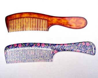 Two mid century vanity combs dressing comb practical comb celluloid comb