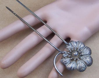 Vintage silvertone metal hair pin hair pick hair fork hair accessory hair jewelry hair ornament decorative comb