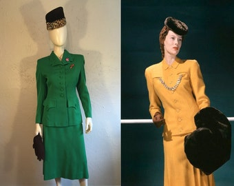 Her Fashionable War - Vintage 1940s WW2 Rothmoor Emerald Green Wool Gabardine Suit -