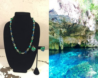 Waters of Tulum About My Neck - Vintage 1950s Teal Blue Green Lucite Bead Necklace w/Matching Clip On Earrings