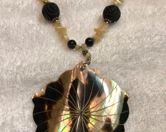 Beautiful Amazing Mother of Pearl Sterling Silver Carved Bead Toggle Necklace