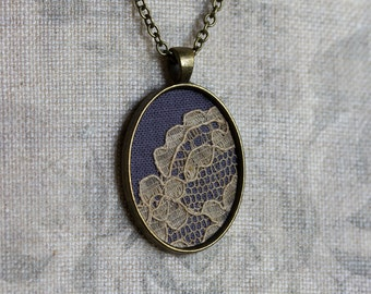 Art Nouveau Jewelry, Oval Pendant, Lace Bridesmaid Gift, Victorian Jewelry, Beige, Gray Necklace, Cotton Fabric Jewelry, Anniversary