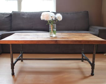 """Harvest Wood Coffee Table with steel pipe leg base- Standard 1.65"""" top, x 30"""" L x 30"""" w x 18"""" tall. You choose, size, wood thickness, finish"""