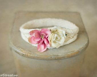 Baby Headband, White, Cream and Dusty Rose Headband, Halo,  Newborn Headband, Newborn Props, Baby Halo, Natural Props, RTS