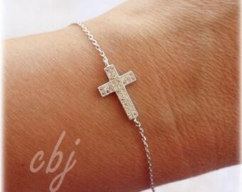 Sterling Silver Cross Bracelet, Minimal Cross Bracelet, 1st Communion Cross Bracelet, Cross Bracelet