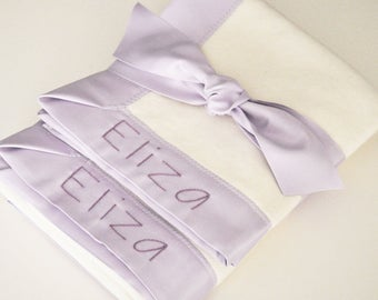 Organic Baby Girl Blanket -- Lavender Purple -- Free Personalization