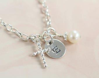 First Communion Gift Bracelet for Girls Religious Jewelry - Initial Cross Pendant Bracelet 925 Sterling Silver