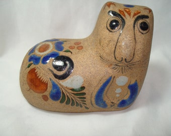 1974 Made in MEXICO Glazed Stonewear Cat Statue.