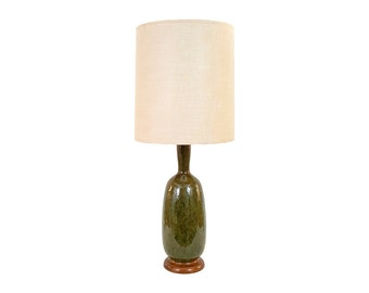 Mid-Century Danish Modern Drip Glaze Pottery Lamp with Linen Shade
