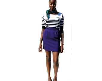 SALE!!!!!!!!!!! Royal purple pencil skirt with yoke PETITE 1990s 90s VINTAGE