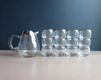 Dorothy Thorpe glass and pitcher set | Set of 12 silver Mad Men glasses | Vintage 1960s barware | 5 oz roly poly glasses