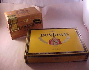 2 Cigar Boxes Wood A Fuente Dominican Republic and Carboard Don Tomas Spanish Honduras
