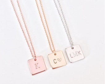 Stamped Square Tag Necklace | gold filled or sterling silver