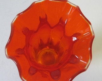 20% OFF SALE vintage 1960s  Red Flame Handkerchief Glass Vase