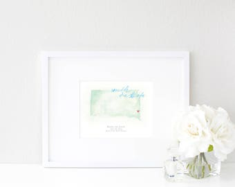 South Dakota Watercolor Map | Destination Map Print | Personalized Watercolor Map | Honeymoon Map | Anniversary Map | Watercolor Wedding Map