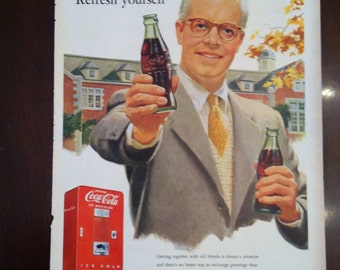 Coca Cola Vintage Ad from 1960 Life Magazine Refresh Yourself Coke